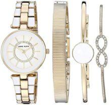 Anne Klein - Conjunto de reloj y pulsera con cristales Swarovski para mujer