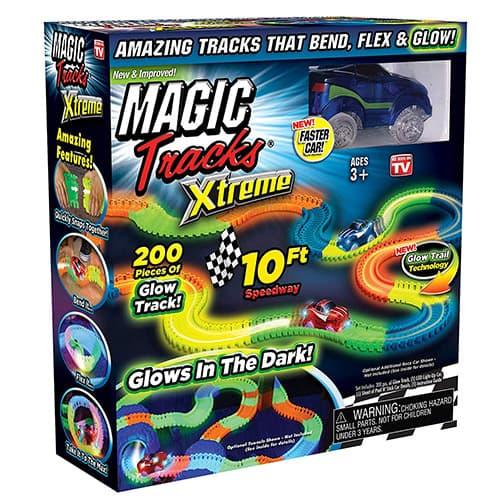 Ontel Magic Tracks Xtreme - Coche de carreras y 10 pies de pista de carreras flexible y flexible que brilla en la oscuridad, como se ve en la TV