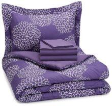 Amazon Basics Set de sábanas de 5 Piezas, Individual Extra Grande, púrpura Floral