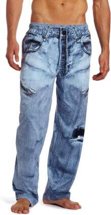 MJC International Men's Generic Faux Denim Pajama Pant, Blue, Medium