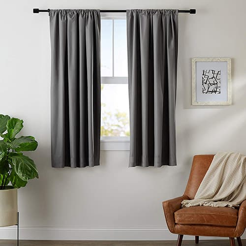 "AmazonBasics Blackout Curtain Set - 42"" x 63"", Dark Grey"
